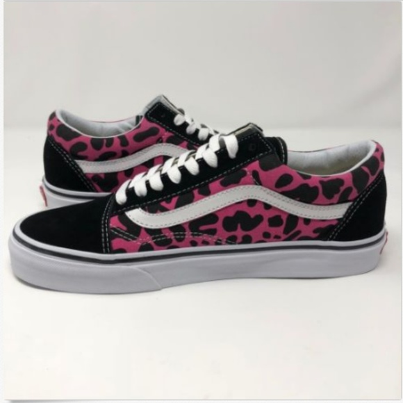 561a44e951 Vans Mens 9 Shoes Sneakers Old Skool Leopard Pink